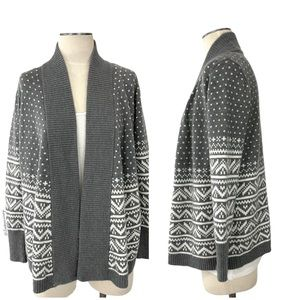 Gap- Gray & White Open Cardigan Size Small